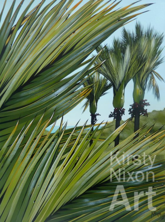 West coast nikau 2 painting by Kirsty Nixon