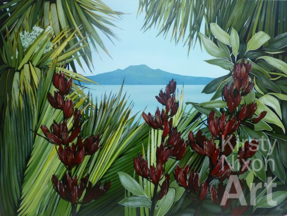 Native View Rangitoto painting by Kirsty Nixon