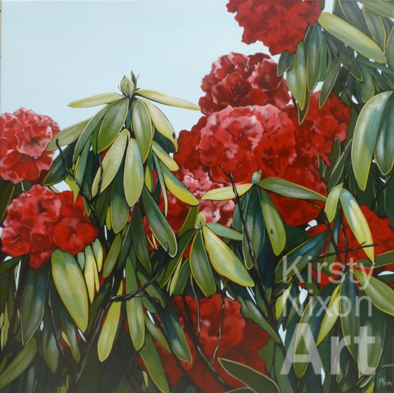 Rhodoendron riot painting by Kirsty Nixon