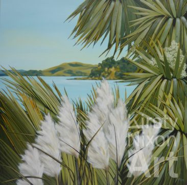 """View to Browns Island""<br> 1000mm x 1000mm  $5,000<br> The Poi Room"