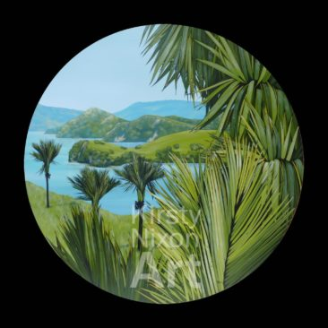 """Morning Coromandel""<br> 1100mm diameter Art by the Sea<br> SOLD"