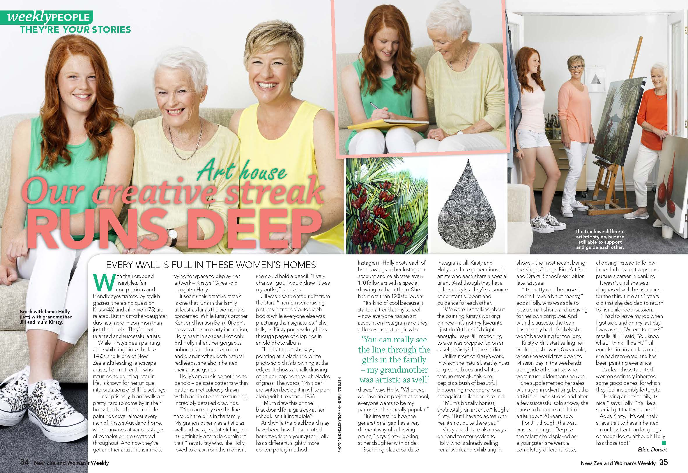 Three generations of artists NZ Woman's Weekly Kirsty Nixon