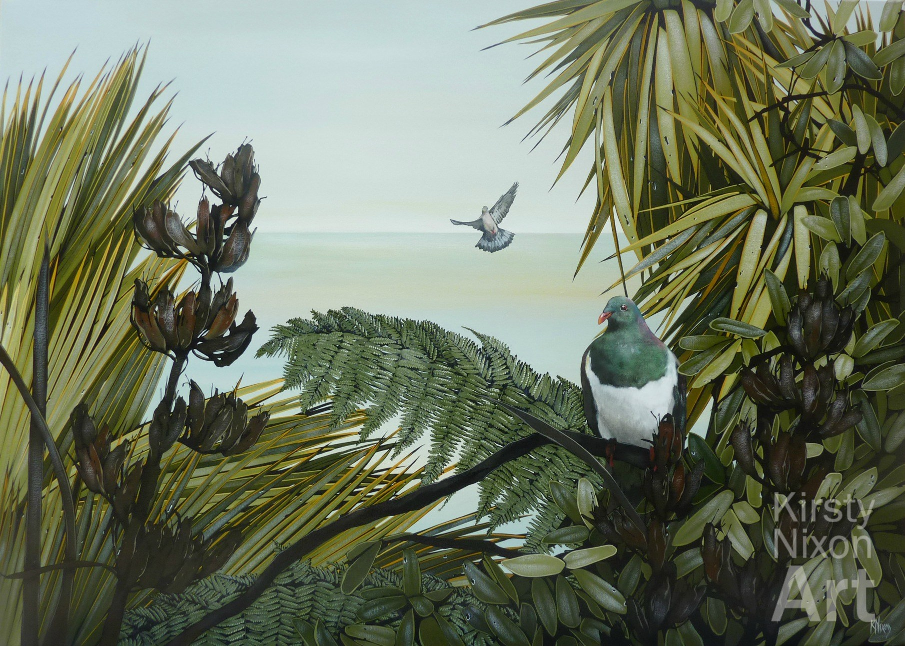 Kereru painting Kirsty Nixon